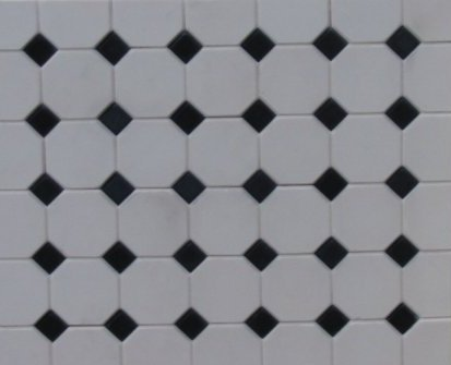 White Octagonal Floor Tiles - Dolls House